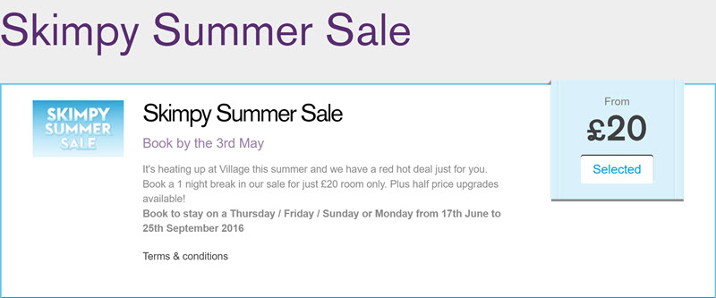 village-hotels-skimpy-summer-sale