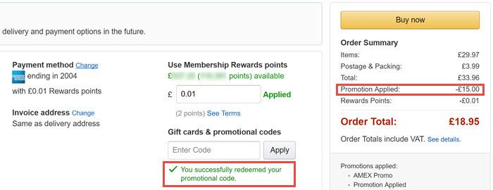 运通金卡/白金卡福利 – Amazon满£25减£15