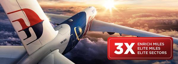 马来西亚航空三倍里程大促 – 中英经济舱往返一趟可获寰宇蓝宝石