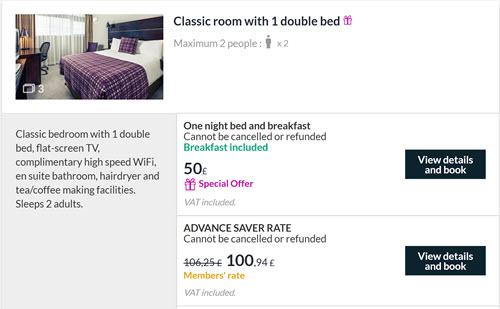 英国美居酒店圣诞新年促销:双人含早£50一晚